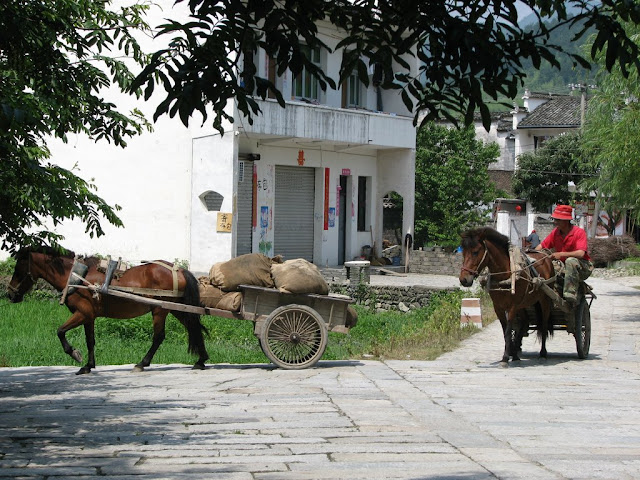 Riding into Hongcun Village