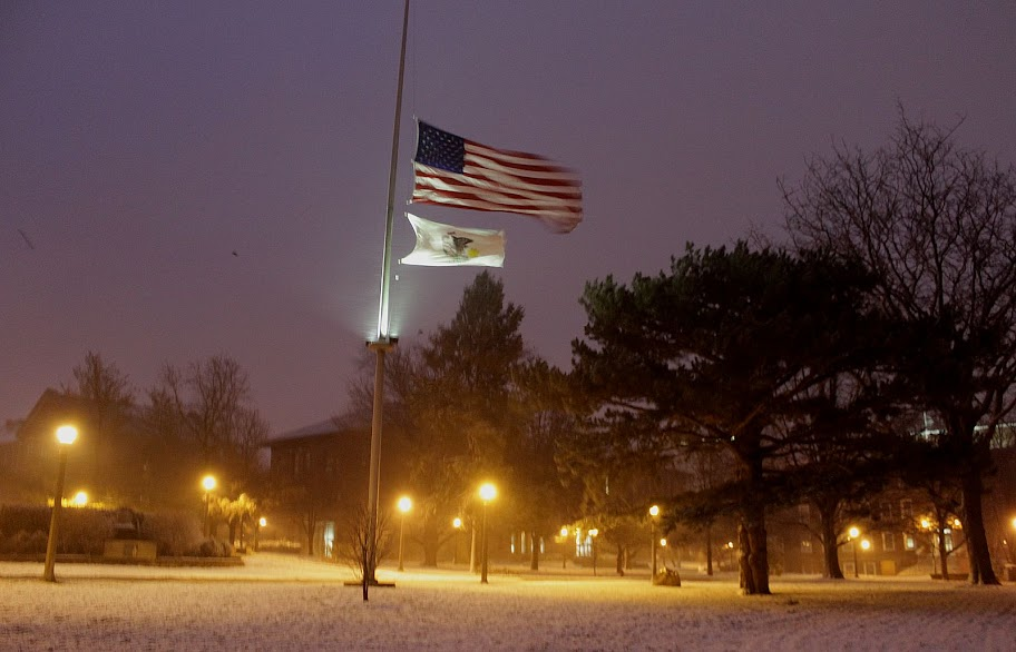 Flag at half-mast. Illinois State University campus during winter storm Draco, on 20 Dec 2012. Image courtesy George Wiman.