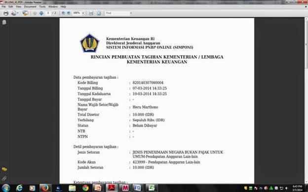 Hasil cetak billing PNBP