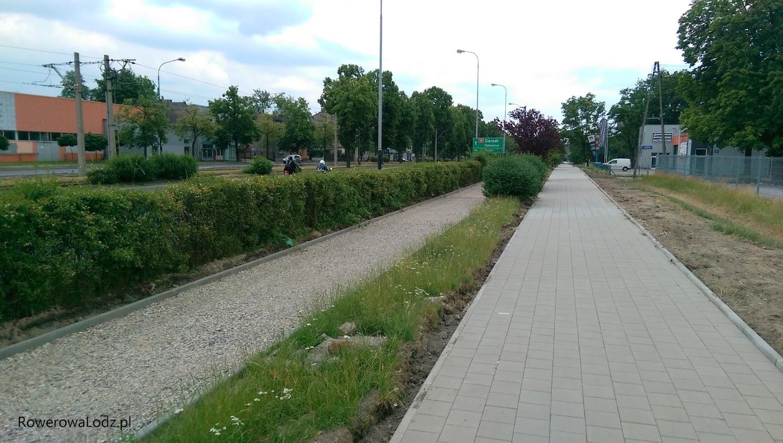 Dalej w kierunku Chocianowic chodnik i ddr oddzielnie i szersze