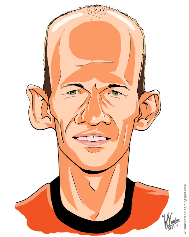 Cartoon caricature of Arjen Robben, using Krita.