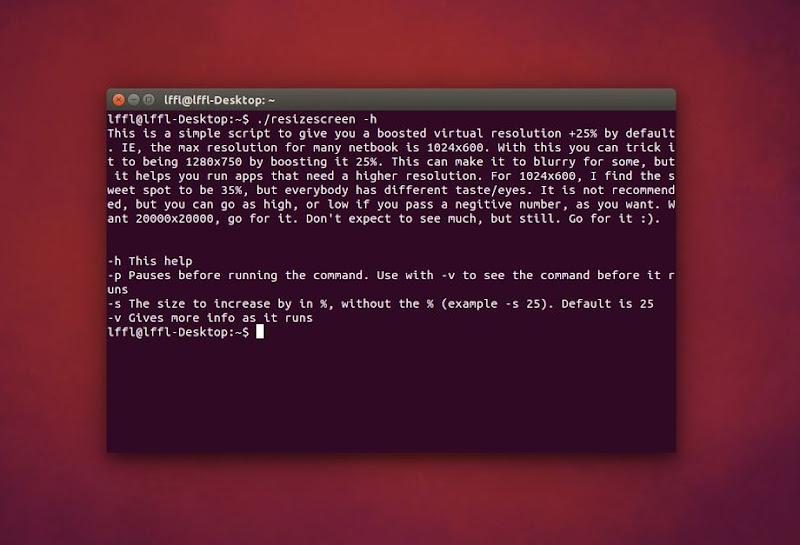 Resizescreen in Ubuntu - Opzioni