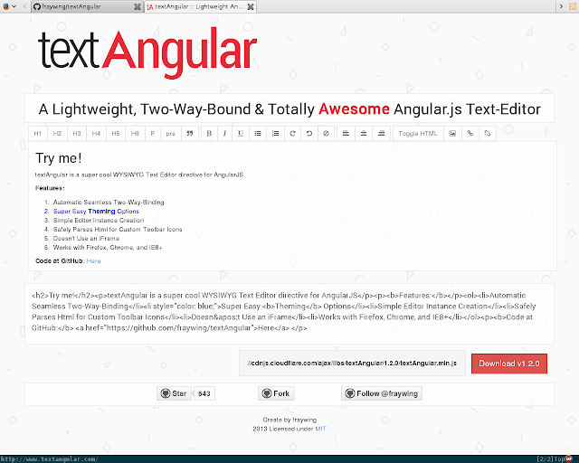 YJL: textAngular, WYSIWYG Text and HTML web editor