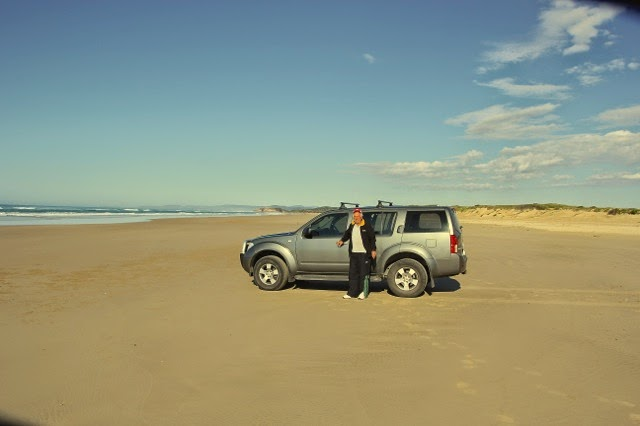 Driving the beach in Red Rock, Australia