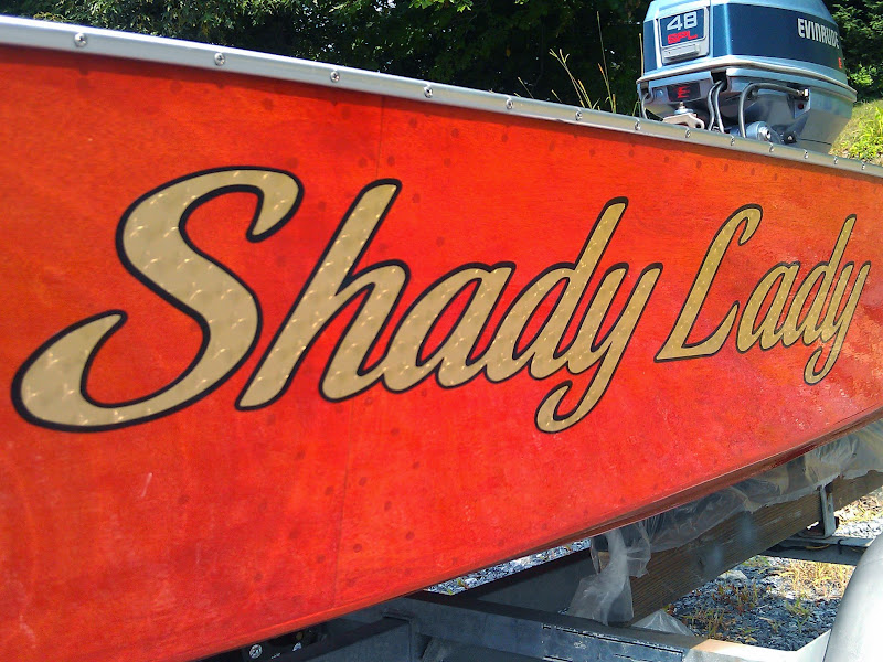 gold leaf boat name - shady lady