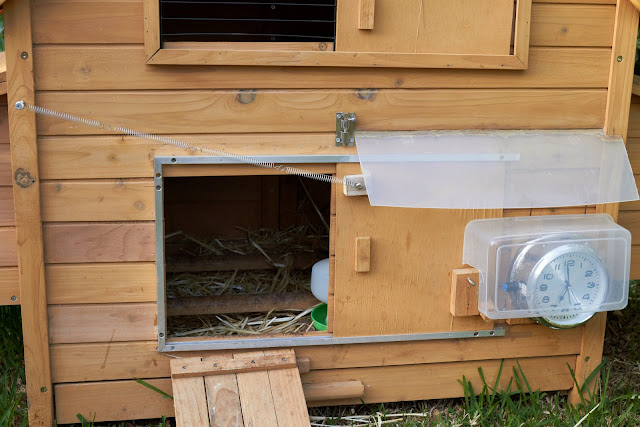 Modification of the chicken door to use an aluminium frame and spring loading