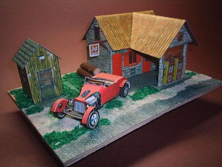 Vintage Service Station Papercraft