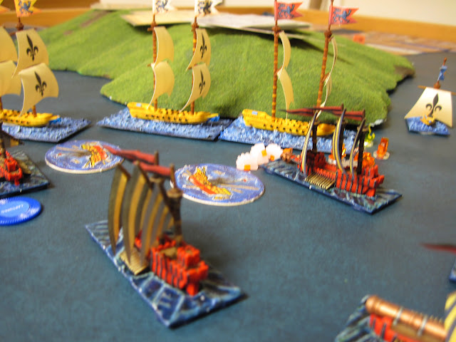 One Wolf Ship reverse waters to ram next turn, another let's fly on the lead Corsair dealing heavy damage.