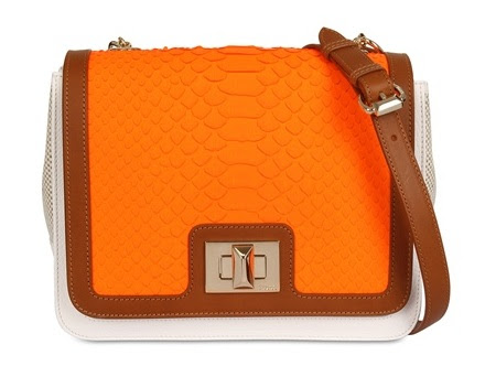 emilio pucci orange leather python bag