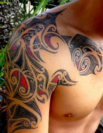 tribal tattoos for men on chest and shoulder