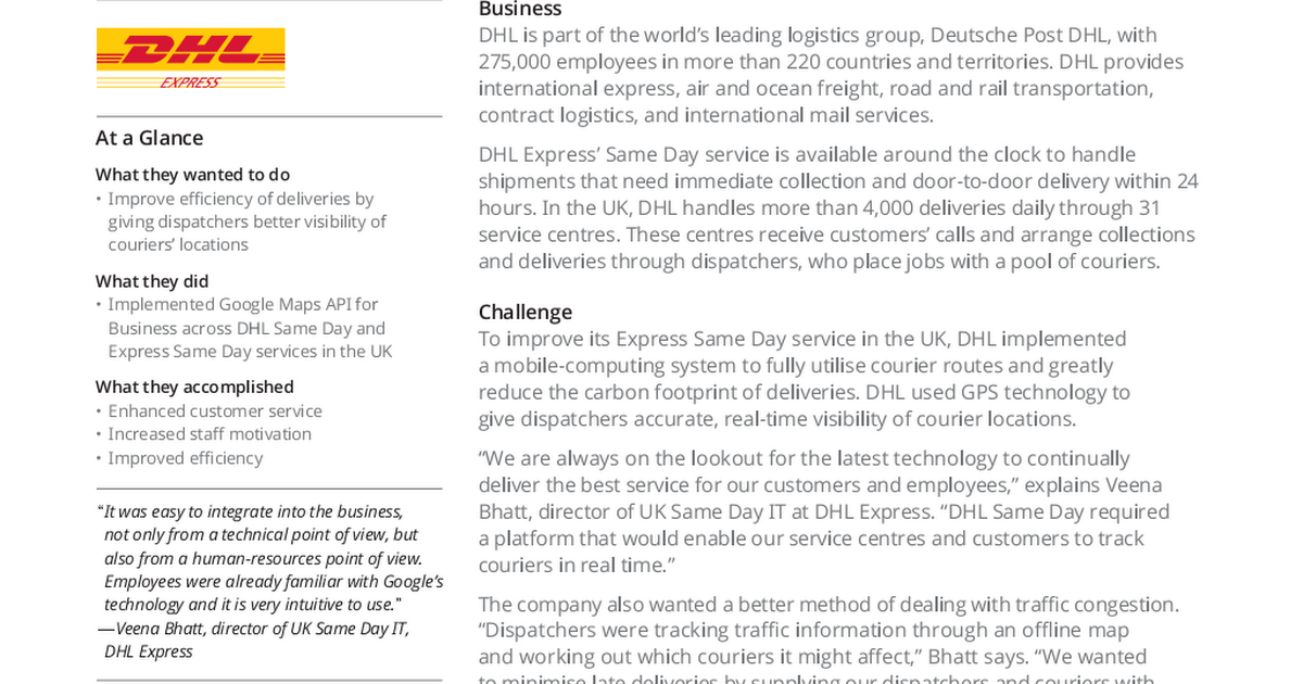 Google Maps and Earth Case Study - DHL Same Day pdf - Google