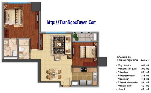 Bán chung cư Times City T5 T6 T7 căn hộ 86.9m2