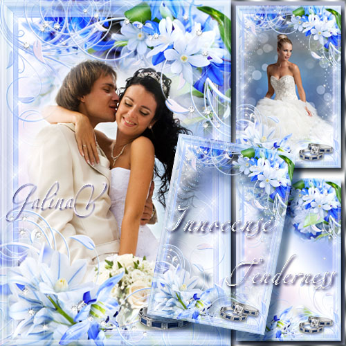 Wedding Flower Frame - White and Blue, Innocense and Tenderness