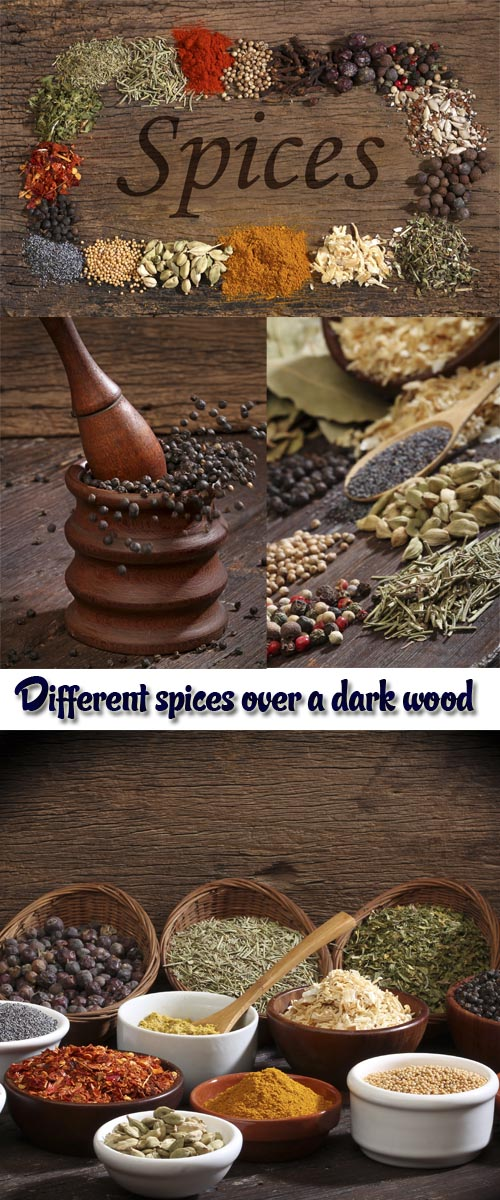 Stock Photo: Different spices over a dark wood. Selective focus