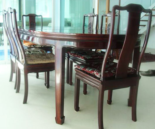 Chinese Rosewood Dining Table With Chairs