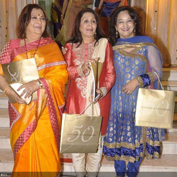 (L-R) Talented sisters, Bharti Achrekar, Vandana Gupte and Rai Varma at Ramesh and Seema Deo's 50th wedding anniversary, held at ISKCON, in Mumbai, on July 1, 2013. (Pic: Viral Bhayani)