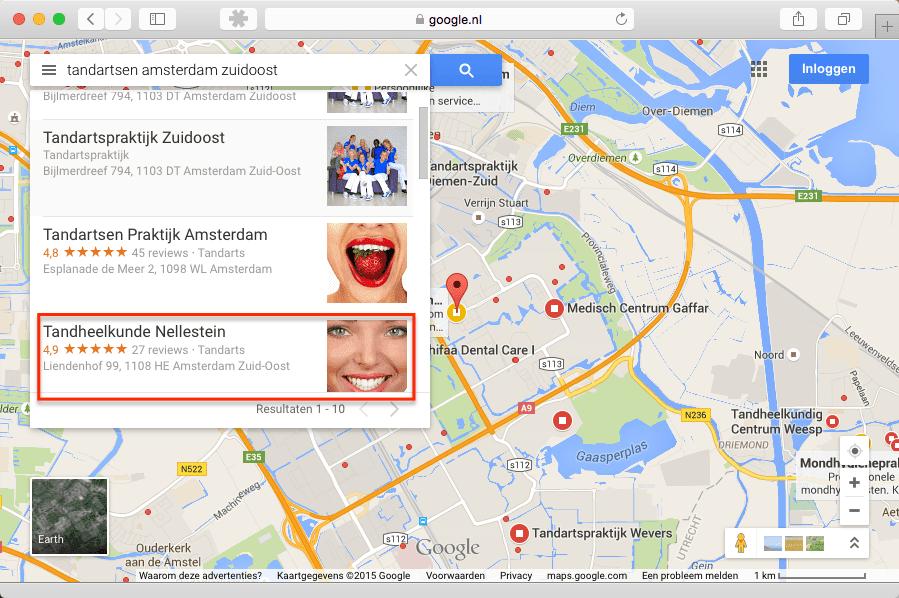 Tandartsen Amsterdam Zuidoost op Google Maps op de 3e positie!