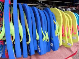 Flip flops for sale at a market on Copacabana Beach in Rio de Janeiro Brazil