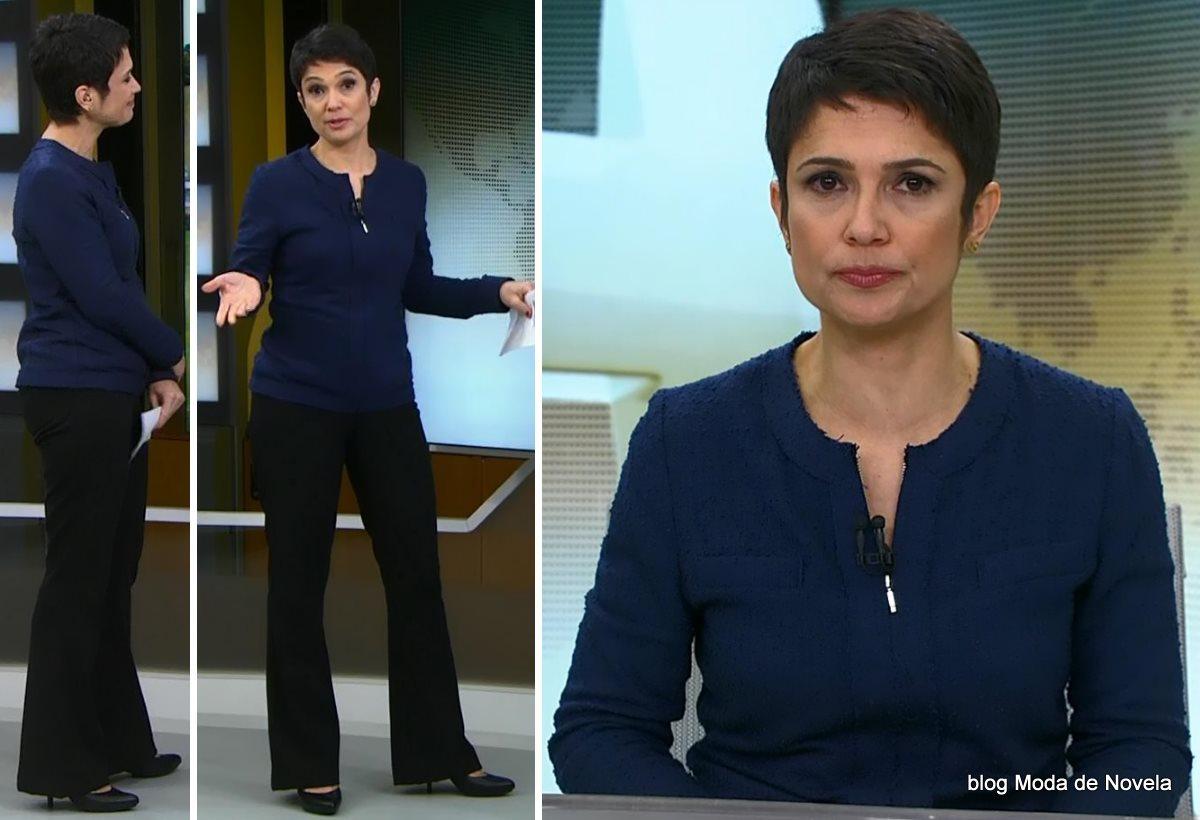 moda do programa Jornal Hoje - look da Sandra Annenberg dia 9 julho