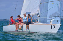 Women's J/24 team sailing J/24 Midwinters- Miami