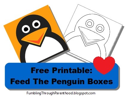 Free Printable Math Activity: Feed the Penguin Boxes