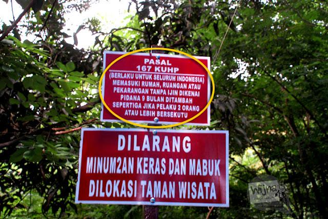 Larangan Masuk Curug Indah Gedangsari, Gunungkidul, Yogyakarta pada Januari 2012