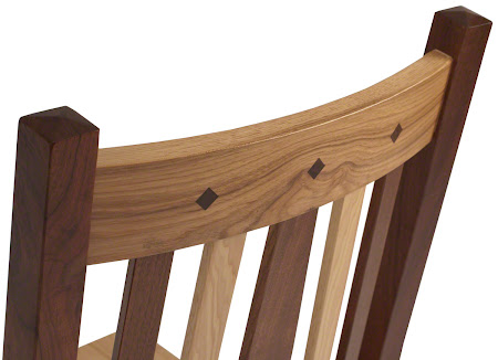 Eastern Dining Chair with Custom Inlay, Natural Hickory and Walnut