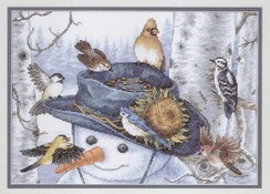 Birds and snowmancross stitch pattern