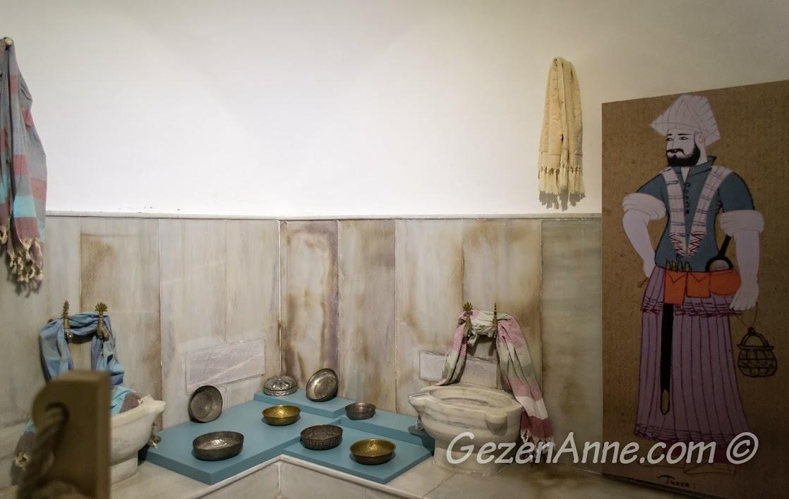 hamam bölümleri ve kullanılan bakır kaplar, Türk Hamam Müzesi Beypazarı