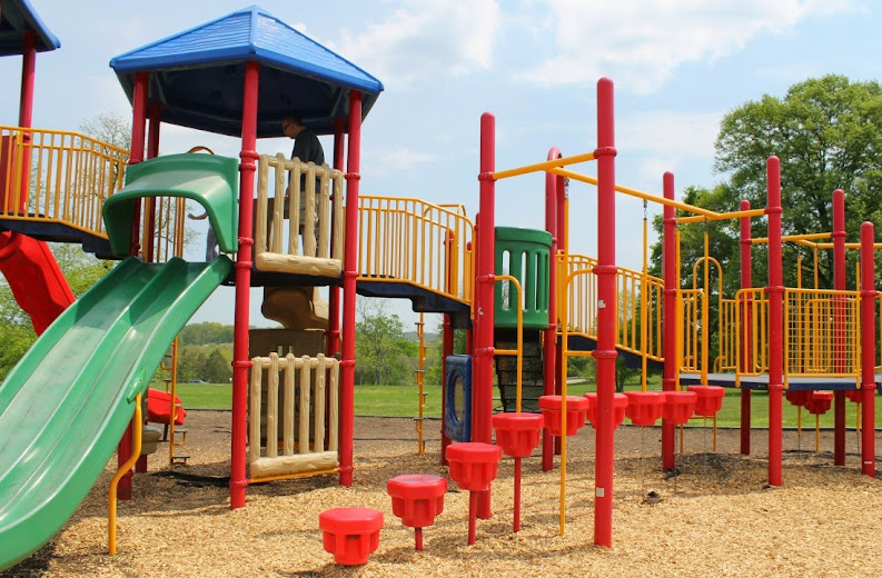 The huge play center at the Charlie Vettiner Park