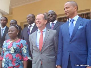 Martin Kobler, chef de la Monusco, avec le gouverneur Moise katumbi et des membres du gouvernement provincial du Katanga à Lubumbashi. Photo Radio Okapi/Jean Ngandu