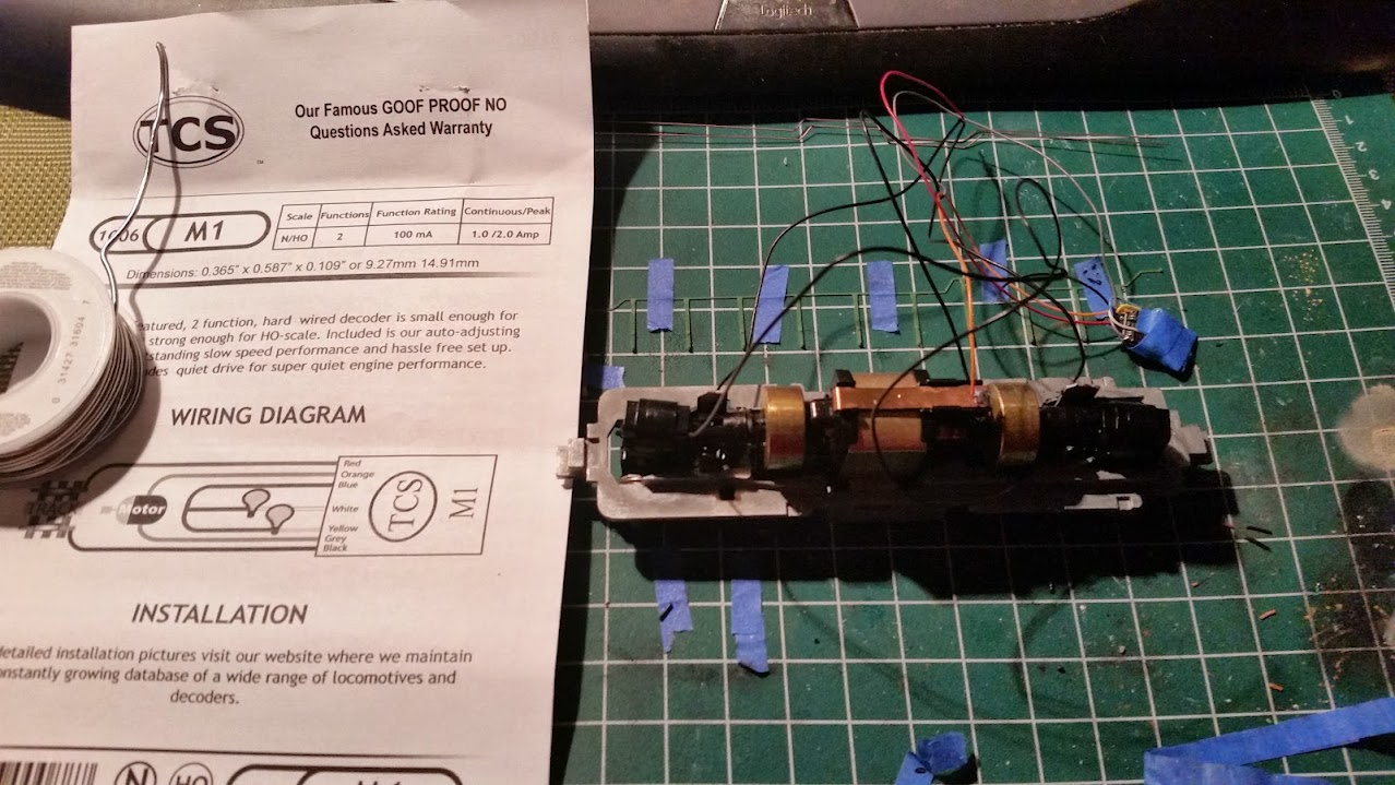 Bn Sw7 Slug Ho Scale The Diesel Detailer Locomotive Wiring Diagrams Ill Eventually Want To Remove This Decoder So I Didnt Twist Wires In Too Much A Touch Of Iron Connected Everything