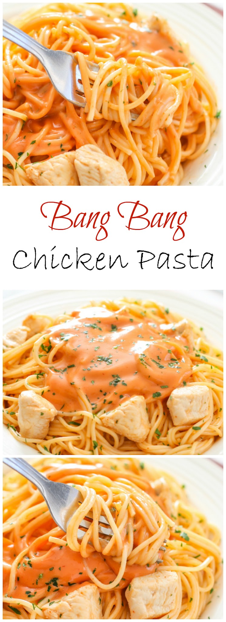 bang bang chicken pasta photo collage