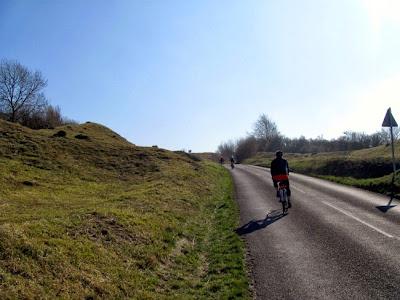 ascending steep hill