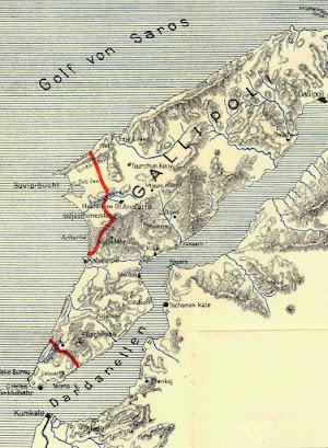 Kaart van Gallipoli