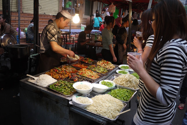 food at Zhengning Street Night Market in Lanzhou, China
