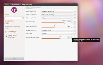 CCSM automaximize unity windows ubuntu 11.10 oneiric ocelot