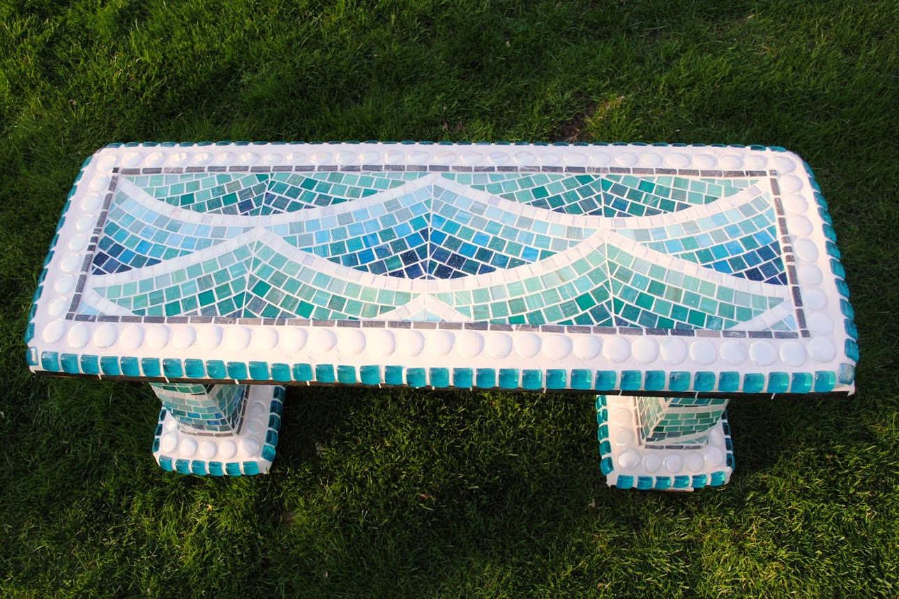 Enjoyable Mosaic Garden Bench Beachside Beads Pieces Ibusinesslaw Wood Chair Design Ideas Ibusinesslaworg