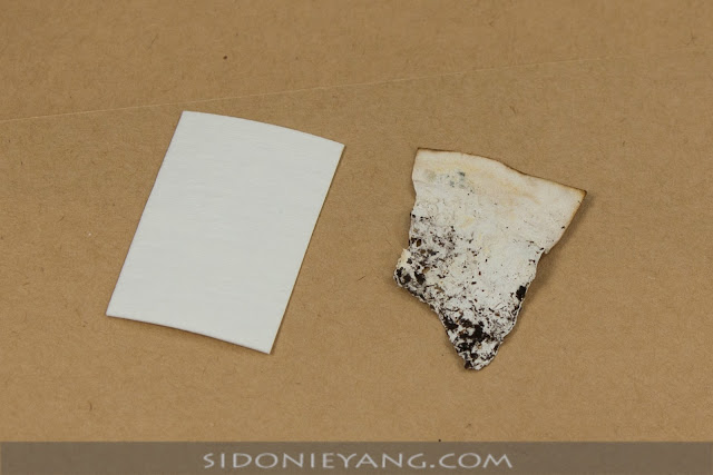 左:全新牛皮紙,右:掩埋一個多月後被分解的牛皮紙
