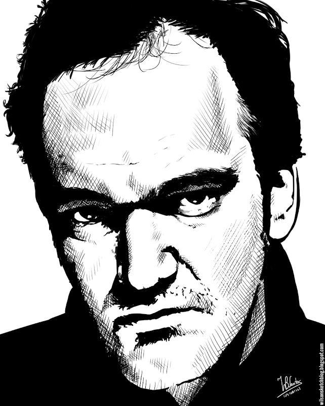 Ink drawing of Quentin Tarantino, using Krita 2.4.