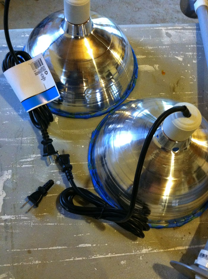 Taped rims of DIY Copper Barn Pendant Lights