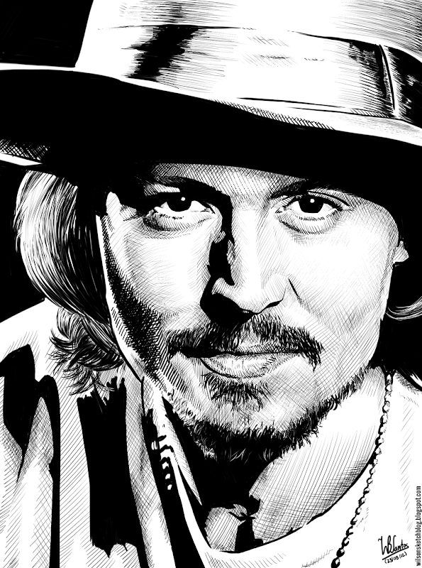 Ink drawing of Johnny Depp, using Krita 2.4.