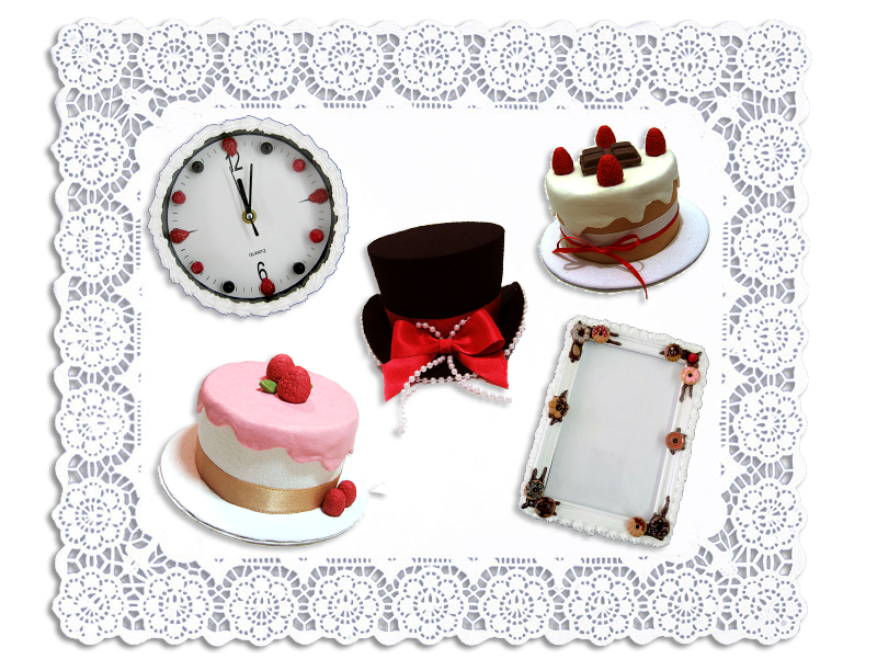Ai Candies Poupee Girl mini-hat, Cheesecake minik-hat, Black mini-hat, Berries & Cream clock, Doughnuts photo frame