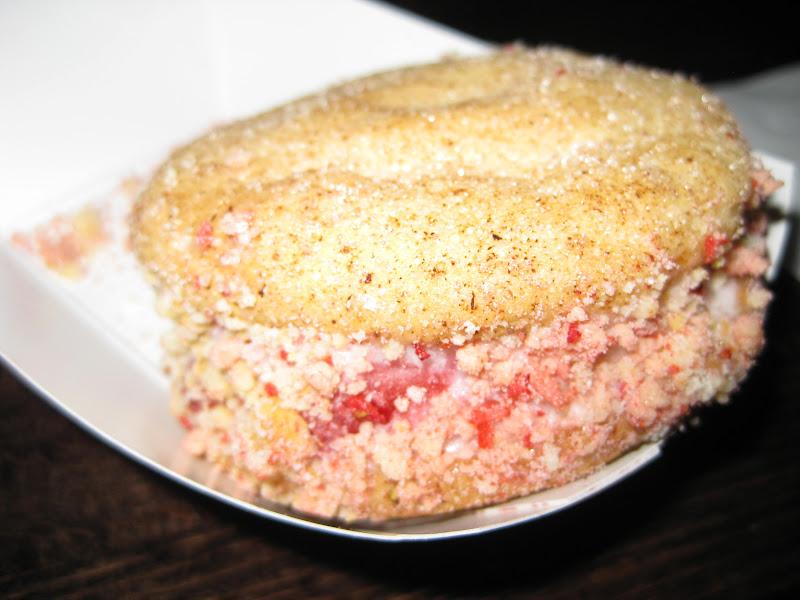 Strawberry shortcake ice cream sandwich