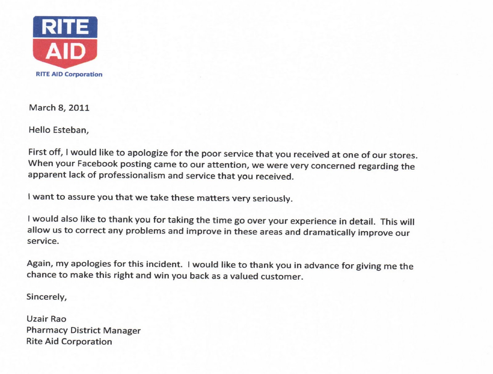 Rite Aid Pharmacy and Store Apology Letter to Esteban Escobar ...