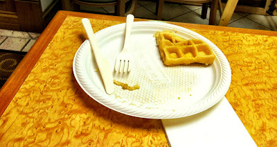 waffle breakfast eaten fork knife plate stock photo