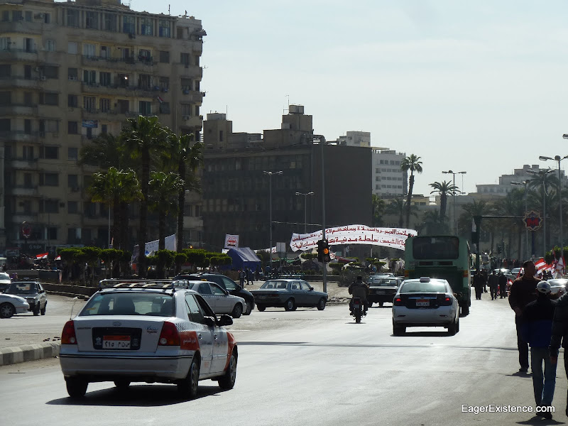 traffic near tahrir square just after the revolution in cairo