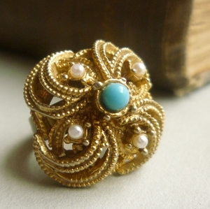 Gold Turquoise Vintage Cocktail Ring