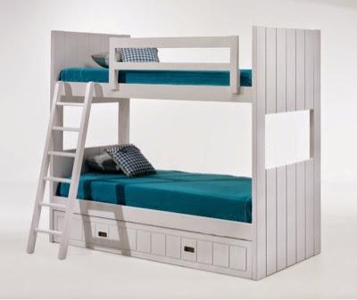 Litera lacada blanca con 3 camas
