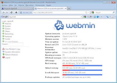 Instalar Webmin para administrar vía web el servidor Linux Ubuntu Server y sus servicios MySQL, PostgreSQL, Apache